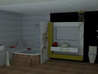 SERPİCİ's Mimarlık ve İç Mimarlık Architecture and INTERIOR DESIGN Bagno in stile classico PVC Marrone