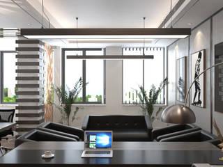 ofis tasarımı DESİGN MİMARLIK Akdeniz Oturma Odası Kauçuk Ahşap rengi