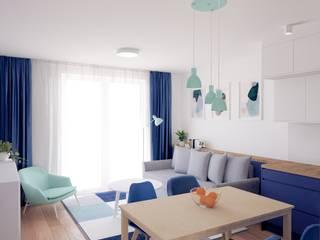 Salon z aneksem kuchennym Anna Freier Architektura Wnętrz Nowoczesny salon Niebieski