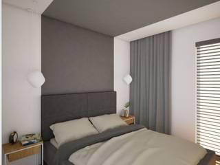 Minimalistyczna sypialnia w szarej kolorystyce. Anna Freier Architektura Wnętrz Minimalistyczny salon Szary