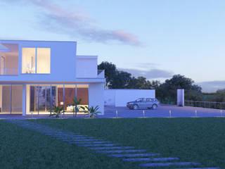 Architectural Rendering Modern balcony, veranda & terrace by NYrender Modern