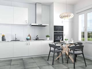 Renders Arquitectura Cocinas de estilo moderno de Proyecto 3D Valencia Renders Animaciones 3D Infografias Online Moderno