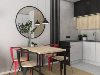 Industrialne mieszkanie dla singla Industrialna kuchnia od VINSO Projektowanie Wnętrz Industrialny