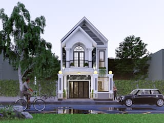 nhà phố cổ điển Acilb design Nhà gia đình Bê tông cốt thép White
