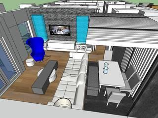 SERPİCİ's Mimarlık ve İç Mimarlık Architecture and INTERIOR DESIGN Sala da pranzo moderna PVC Grigio