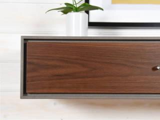 Tavolo consolle corridoio / Console grigio cemento e noce / Mobile ingresso con cassetto sospeso di Ebanisteria Cavallaro Moderno