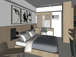 Quadraforma Construction Salones de estilo moderno Beige