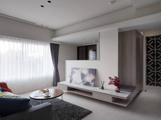 寂靜灰階 现代客厅設計點子、靈感 & 圖片 根據 俬飾軟裝設計 現代風
