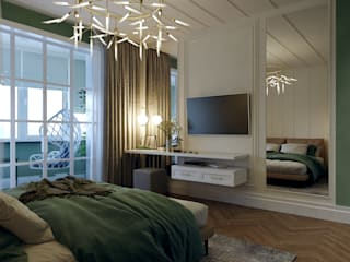 ミニマルスタイルの 寝室 の Творческая мастерская Твердый Знак ミニマル