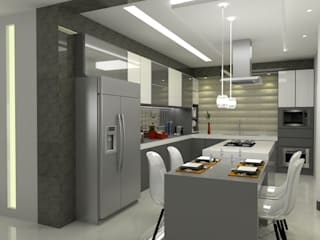 Laene Carvalho Arquitetura e Interiores Built-in kitchens Grey