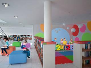 Biblioteca Municipal en Puerto Aventuras Centros de exposiciones de estilo moderno de EMERGENTE | Arquitectura Moderno