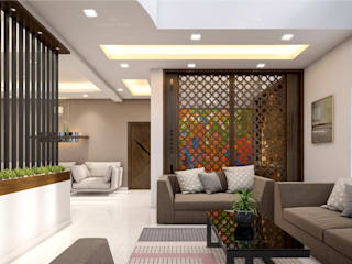 Monnaie Interiors Pvt Ltd Living room Engineered Wood Wood effect