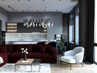 Проект квартиры в современном стиле Гостиная в стиле минимализм от metrixdesign Минимализм