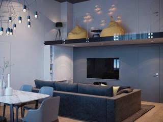 Двухуровневая квартира в Олимппарке Гостиная в стиле лофт от metrixdesign Лофт