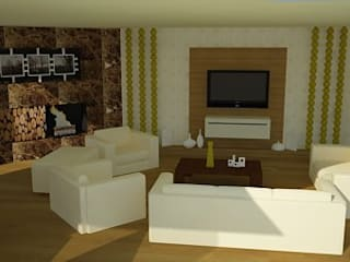 SERPİCİ's Mimarlık ve İç Mimarlık Architecture and INTERIOR DESIGN Living room Wood-Plastic Composite Amber/Gold