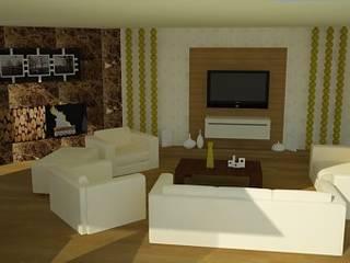 SERPİCİ's Mimarlık ve İç Mimarlık Architecture and INTERIOR DESIGN Ruang Keluarga Gaya Rustic Komposit Kayu-Plastik Amber/Gold