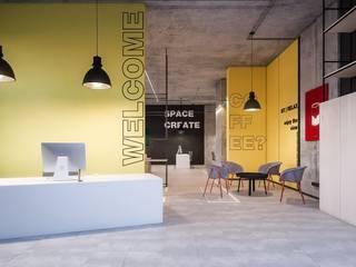 """офис компании """"ARPA RE"""" Офисные помещения в стиле лофт от Синтез Дизайн Лофт"""