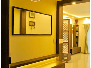 Residential interiors at TATA new heaven apartment, Bangalore Classic style corridor, hallway and stairs by Space Collage Classic