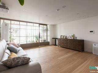 전주인테리어 신시가지 아이파크 40평대 아파트인테리어 러스틱스타일 거실 by 디자인투플라이 러스틱 (Rustic)