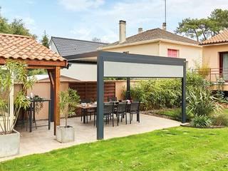Véranda Gustave Rideau Balcone, Veranda & Terrazza in stile moderno Alluminio / Zinco Grigio