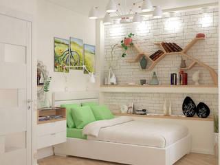 Дизайн-проект интерьера квартиры: ЖК «Золотая Звезда» Спальня в скандинавском стиле от archiberry.ru Скандинавский