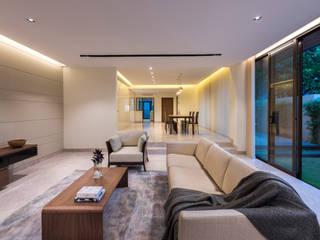 ADX Architects Pte Ltd Ruang Keluarga Modern Marmer Beige