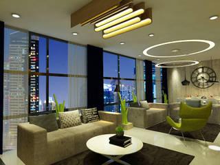 HC Designs Salas de estilo moderno Contrachapado Gris