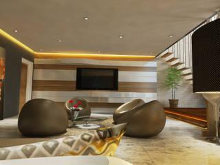 HC Designs Salas de estilo moderno Contrachapado Beige