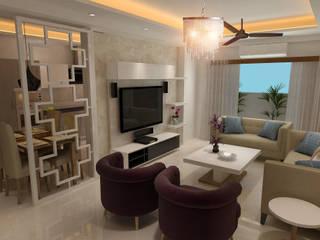 HC Designs Salas de estilo moderno Contrachapado Blanco