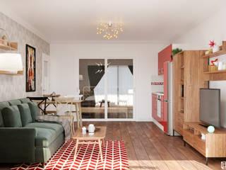1-К КВАРТИРА В ПАРИЖЕ 49,4 М² Гостиная в скандинавском стиле от AREA² Дизайн интерьера Скандинавский