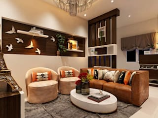 G+2 semi RCC structure with interior and complete furnishings Modern living room by Dynamic Engineering and Construction Modern