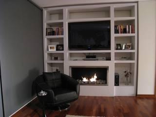 Chimenea empotrada en mueble de Feuer Minimalista