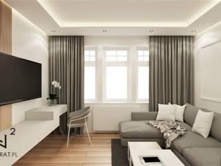 Mieszkanie na wynajem Wkwadrat Architekt Wnętrz Toruń Nowoczesny salon Płyta MDF Brązowy