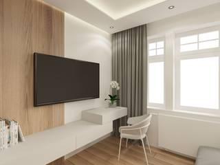 Mieszkanie na wynajem Wkwadrat Architekt Wnętrz Toruń Minimalistyczny salon Płyta MDF O efekcie drewna
