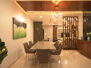 Spacious 4.5 BHK Flat Interior Design Modern dining room by AARAYISHH Modern