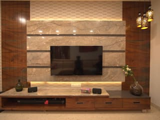 Spacious 4.5 BHK Flat Interior Design Modern living room by AARAYISHH Modern