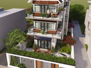 Thiết kế biệt thự 3 tầng với sân vườn xanh mát bởi Kiến trúc Trang Kim Hiện đại