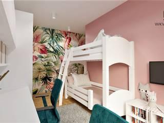 Pokój dla dziewczynek Wkwadrat Architekt Wnętrz Toruń Pokój dla dziwczynki Płyta MDF Wielokolorowy