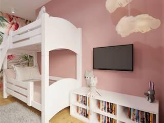 Pokój dla dziewczynek Wkwadrat Architekt Wnętrz Toruń Pokój dla dziwczynki Płyta MDF Biały