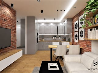 Salon z aneksem kuchennym Wkwadrat Architekt Wnętrz Toruń Nowoczesny salon Cegły Szary