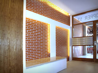 Mediterranean style corridor, hallway and stairs by Oficina Urbana Mediterranean