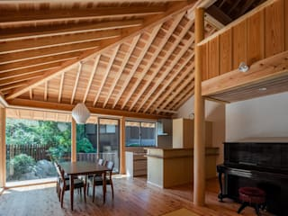株式会社 森本建築事務所 Living room Wood Wood effect