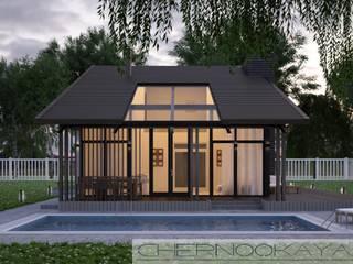 Жилой дом с большим остеклением и односкатной кровлей №1501 от Студия современной архитектуры Анны Черноокой Модерн