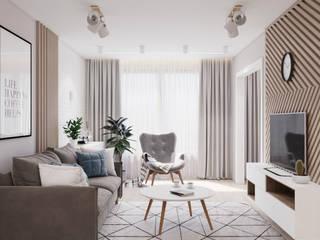 Дизайн 2-комнатной квартиры Гостиная в скандинавском стиле от Студия современной архитектуры Анны Черноокой Скандинавский