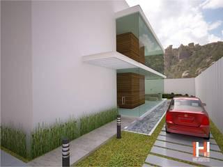 EXTERIOR CON CRISTAL Casas modernas de HHRG ARQUITECTOS Moderno