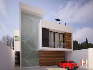 FACHADA CON CRISTAL Casas modernas de HHRG ARQUITECTOS Moderno