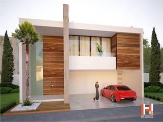 FACHADA CON ENTRADA A DOBLE ALTURA Casas modernas de HHRG ARQUITECTOS Moderno
