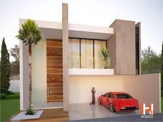 FACHADA CON BALCÓN Y ENTRADA A DOBLE ALTURA Casas modernas de HHRG ARQUITECTOS Moderno