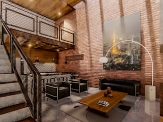 Daniel Jacobo Arquitecto Industrial style living room Bricks