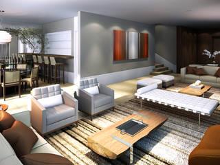 Remodelação de residência unifamiliar Salas de estar modernas por Ao Quadrado Moderno